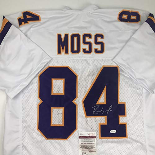 Autographed/Signed Randy Moss Minnesota White Football Jersey JSA COA