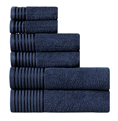 Wicker Park 600 GSM Ultra Soft 100% Combed Cotton 6-Piece Towel Set (Navy Blue): 2 Bath Towels, 2 Hand Towels, 2 Washcloths, Long-Staple Cotton, Spa Hotel Quality, Super Absorbent, Machine Washable
