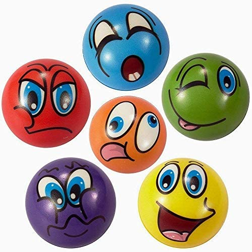 Squeeze Toys Great for Goodie Bag Gifts and Class Prizes MyMagic Face Emoji Stress Balls 2.5 Inch Assorted Expressions Soft Foam Stress Ball 24 Pack Party Balls