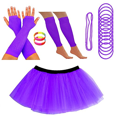 Fishnet Necklace - REDSTAR Neon Tutu Skirt Leg Warmers Fishnet Gloves Necklace Beads Gummy Bracelets and Neon Wrist Bands (10-18 US, Purple)