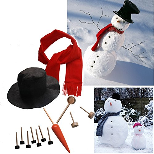 [Woya Snowman Kit,Snowman Making Building Set Kids Winter Holiday Outdoor Fun Toys Christmas Gift 13 Pieces Included] (Making Snowman Costume)