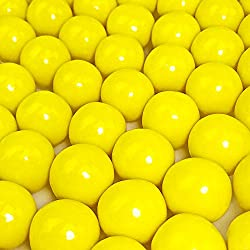 "Yellow Gumballs - 2 Pound Bags - Large - One Inch in Diameter - About 120 Gumballs Per Bag - Free ""How To Build a Candy Buffet"" Guide Included"