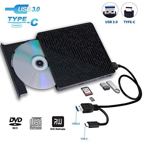 USB 3.0&USB-C External CD DVD Drive,Multifunctional External CD/DVD +/- RW Burner Player Writer Support SD/TF Card/2 USB 3.0 Ports/Charging,Compatible with Mac OS/Windows/MacBook/Laptop/Desktop-Black (Ipad Dvd Player)