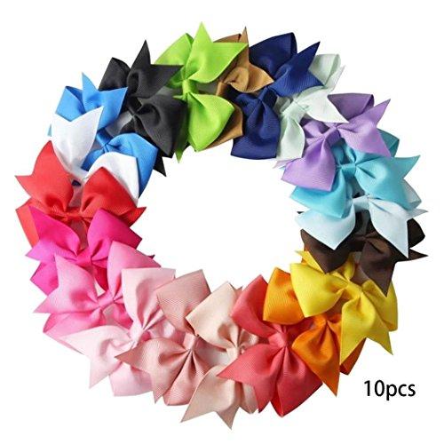 Dorani 10pcs Girls Ribbon Bow Hair Clip Kids Alligator Clips Party Hair Accessories