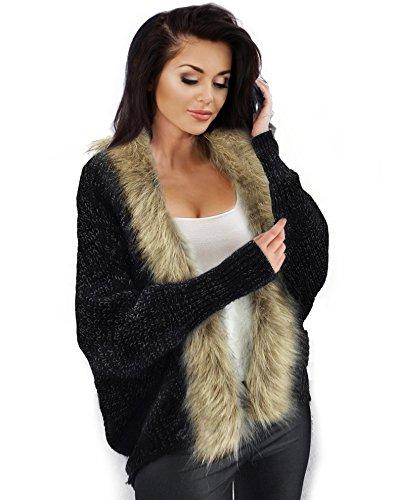 Sweater Cardigan Fur Faux - Resort Goddess Winter Cardigan Jacket for Women Faux Fur Knit Shawl Warm Soft Furry Sexy (Black)