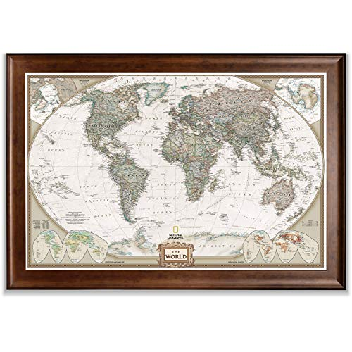 World Travel Map Wall Art Collection Executive National Geographic World Travel Map Framed Wall Art with Push Pin, 24x36, Dark Walnut