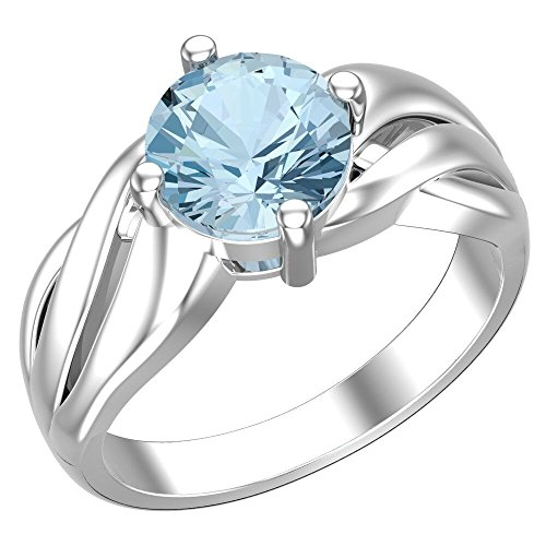 Ring Ladies Sky Topaz Blue (Belinda Jewelz Real Solid 925 Sterling Silver Twisted Band Round Sparkling Gemstone Prong Rhodium Plated Birthstone Engagement Wedding Classic Womens Fine Jewelry Ring Rings, Sky Blue Topaz, Size 10)