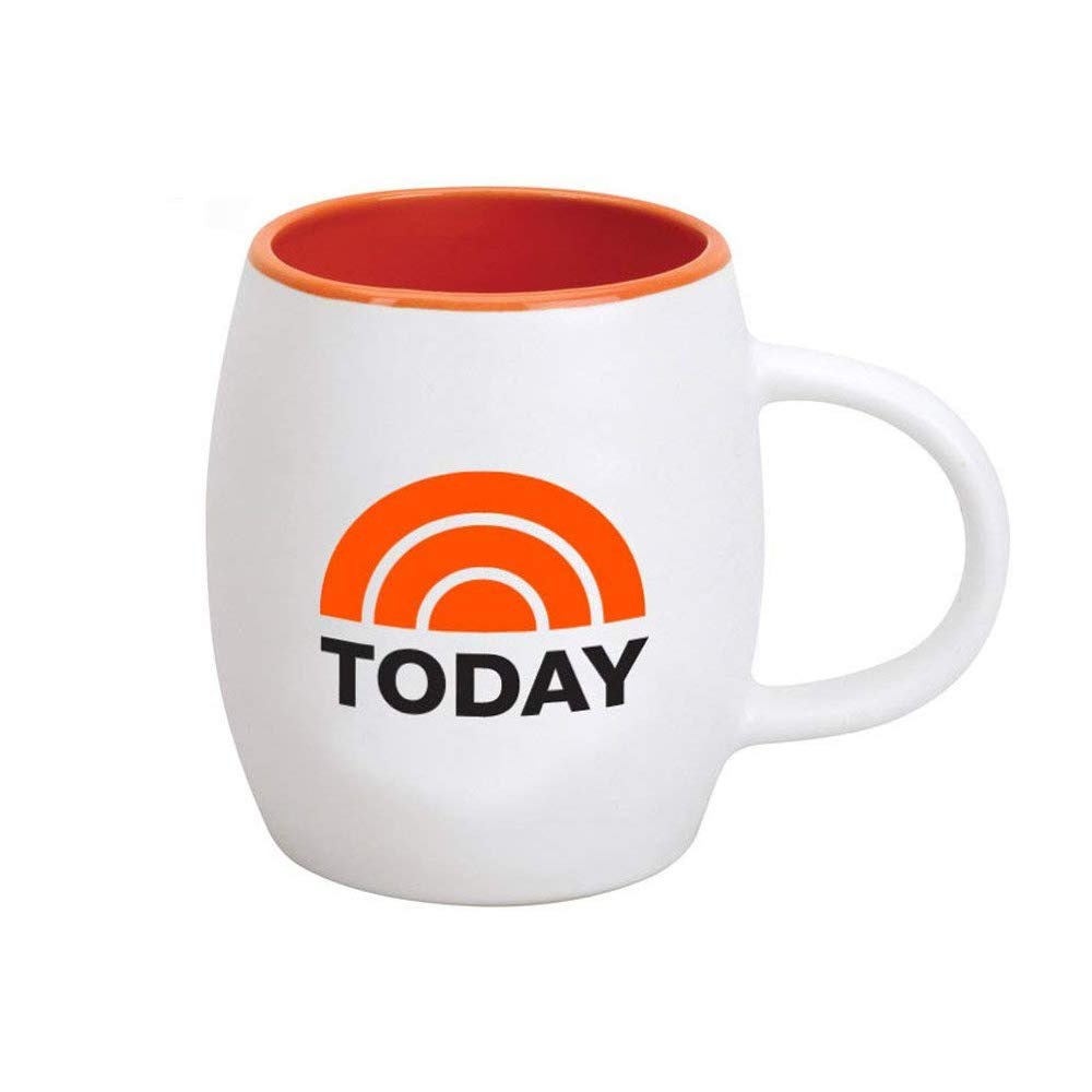 TODAY Logo Ceramic Mug, White with Orange Interior 15 oz - Official Coffee Mug As Seen On the TODAY Show with Savannah Guthrie, Hoda Kotb and Al Roker on NBC