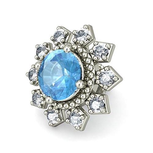 18K Or Blanc 0.24CT TW Round-cut-diamond (IJ | SI) et topaze bleue Boucles d'oreille à tige