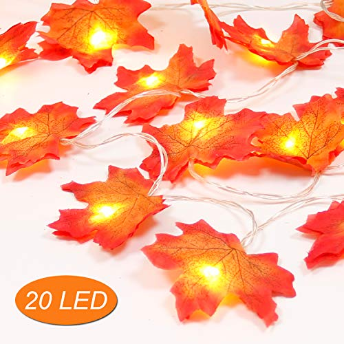 AODOOR Maple Leaf Lights, Fall Decorations, Lighted Fall Garland, Fall Leaf String Lights, Thanksgiving Christmas Halloween Decor Gift, 8.2 Feet   20 Lights for $<!--$12.99-->