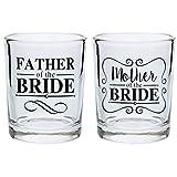 Wedding Gift Shot Glasses Mother of the Bride Gifts Father of the Bride Gift Shot Glasses 2-Pack Round Shot Glass Set Black