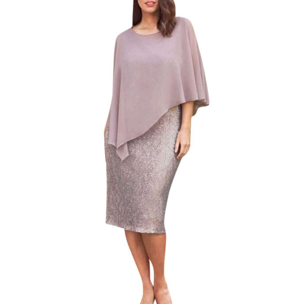 KoLan Womens Dresses Women's Plus Size Dress  Casual Solid Patchwork Short Sleeve Dress  Sparkling Shawl Pencil Mini Dress (XXXXXL, Pink)