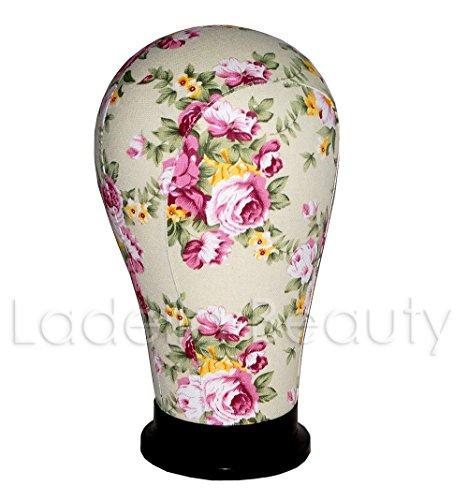 Pink Floral Wig Head