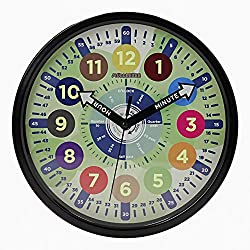 Educational Kids Wall Learning Clock - Easy To Read & Fun Way To Learn Telling Time | Luminous at Night & Durable Aluminium Frame | Perfect For The Bedroom & Classroom Teaching | 10 Inches