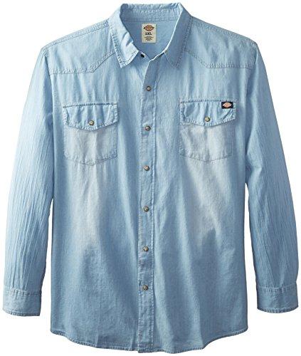 Denim Button Shirt Down Dickies (Dickies Men's Big Long Sleeve Denim Western, Light Blue, 3X)