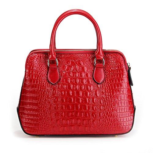 Panzexin Sac Véritable Sac Porté Epaule Femme à Rouge Cuir motif en à cuir main Main de féminin Sac à luxe crocodile rwOq7rSHn
