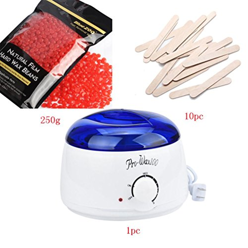 Cosmetic Wax Warmer,Putars Hair Removal Bean Wax Warmer Electric Hair Removal Heater Melting Pot Machine with 8.8 oz Hard Wax Bean and 10 Pieces Sticks (G)