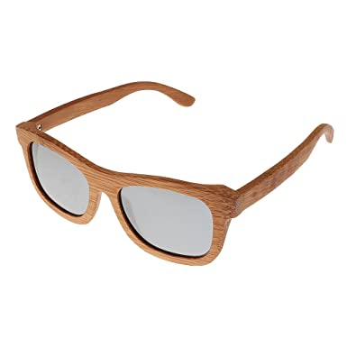 Ynport Crefreak Lunettes de soleil en bambou, rouge, cadre en bois, lunettes de soleil pour voyageur, homme, femme, femme, bleu