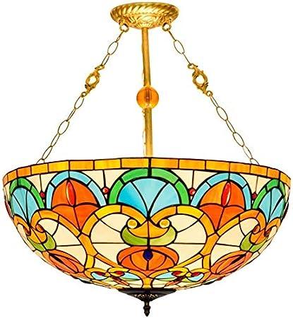 DALUXE Techo de Cristal de Tiffany luz Restaurante de 20 Pulgadas Pantallas Tiffany lámpara de Techo de Cristal del corazón Pendiente de la luz melocotón Perla de Vidrio en suspensión Europea