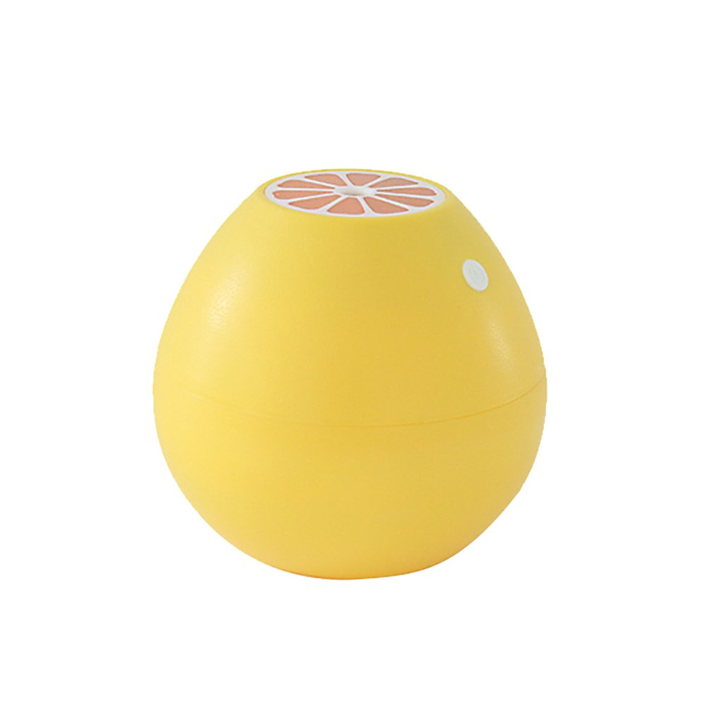VORCOOL Ultrasonic Mist Humidifier Mini USB Air Humidifier Grapefruit Shape with LED Soft Light for Home Office Yoga Spa (Yellow)