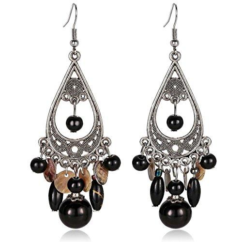 Chandelier Ring Button Beaded Belly - AnaZoz Gold Plated Teardrop Shaped Tassel Black Beaded Chandelier Dangle Drop Earrings for Women