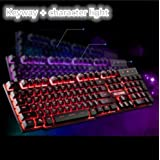 Backlit gaming wired keyboard,mechanical feel/usb interface for home use-D