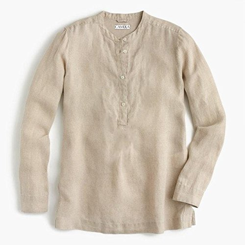 (CAMIXA Women's 100% Linen Casual Button-up Popover Shirt Effortless Airy Basic XL Oat)
