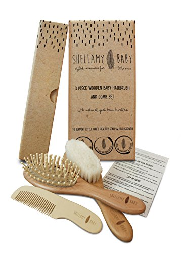 Wooden Baby Hair Brush Set: includes Natural Goat Hair Bristles Brush + Wooden Massage Brush + Comb | For newborns and toddlers | Helps prevent cradle cap | Perfect Gift by Shellamy Baby by Shellamy Baby