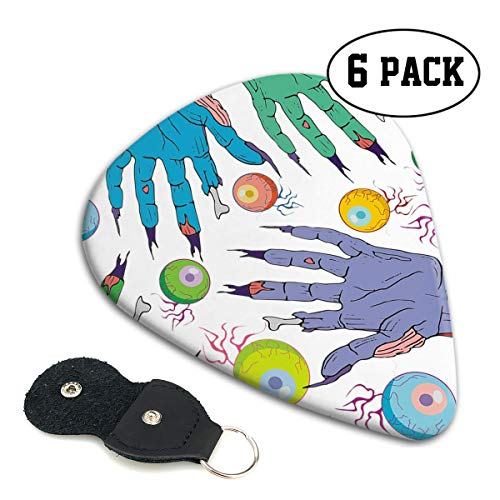 Teesofun Fashion ABS Plastic Guitar Picks Hands Catch Eyeball Art Cool Stylish Guitar Accessories 6 Pack for Acoustic, Electric, Original and Bass Guitars