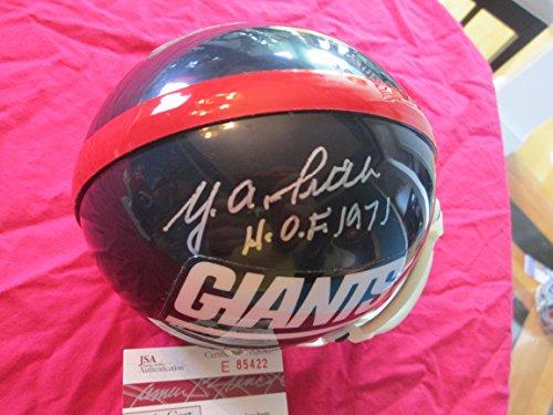 - (YA) Y.A. TITTLE HOF 71 Signed Giants Riddell Football Mini Helmet -JSA Authenticated