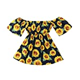 Yamally Yellow Girls Dress Baby Girls Vintage Floral Dress Birthday Party Toddler Dress