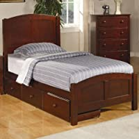 Twin Size Panel Bed with Under Bed Drawer in Rich Cappuccino Finish