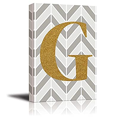 With a Professional Touch, Fascinating Portrait, The Letter G in Gold Leaf Effect on Geometric Background Hip Young Art Decor