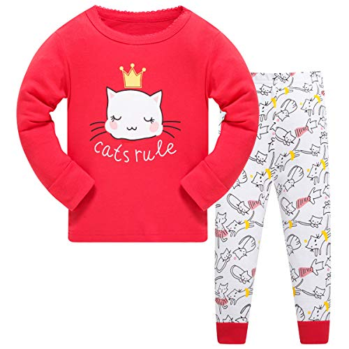 Schmoopy Girls Pajamas Long Sleeve Set with Cat for Toddler and Little Kid Girls 2T