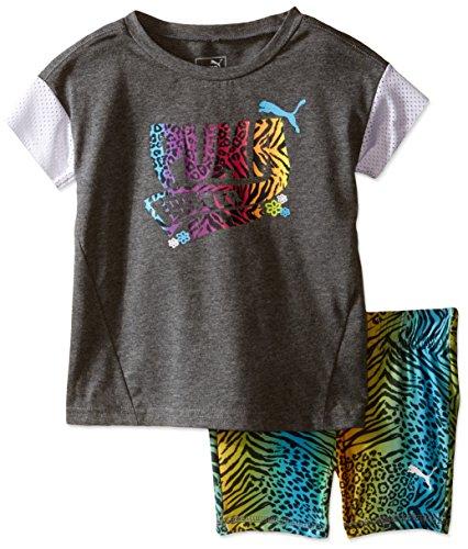 Puma Short Set (PUMA Little Girls' Toddler Top and Biker Short Set, Medium Heather Grey, 3T)