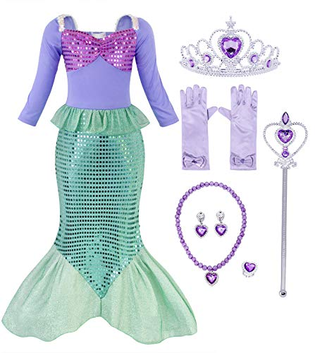 Cotrio Little Mermaid Costume Dress Ariel Princess Dresses with Accessories Halloween Party Outfit Size 6 (5-6 Years, Gloves, Tiara/Crown, Scepter, Necklace, Ring, Earrings) ()