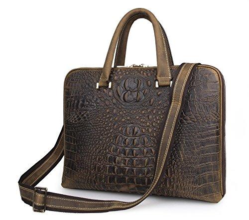 Itslife Men's Cowhide Leather Business Case Briefcase Luxury Alligator Crocodile Style Handbag