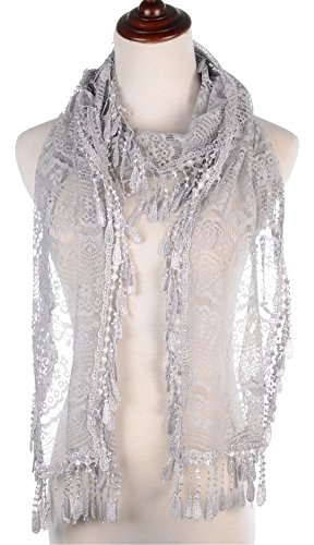 BYOS Womens Delicate Victoria Vintage Inspired Fan Pattern Lace Scarf (Silver Gray)