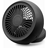 USB Mini Fan, Desk Table & Handheld for Office Outdoor Foldable Base Potable Speed Cooler Dual Power USB Battery (Black)