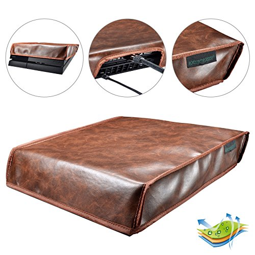 eXtremeRate Custom Designed Brown PU Leather Horizontal Dust Cover for Playstation 4 PS4 Console Double Layer Soft Neat Lining Waterproof Dustproof Precision Cut Easy Access Cable Port