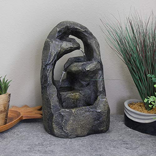 Sunnydaze Cavernous Rock Tiers Indoor Tabletop Fountain – Mini Water Feature – Interior Decor for Desk, Bedroom, Office, Den, Home and Living Room – 12-Inch