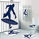 Philip-home 5 Piece Banded Shower Curtain Set Captain America Blue Silhouette of a Man Pattern Adornment