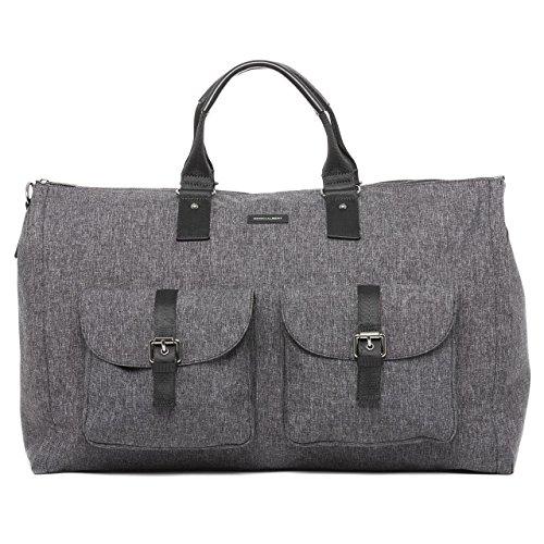 Gray Melange Fabric Garment Weekender Bag by HOOK & ALBERT