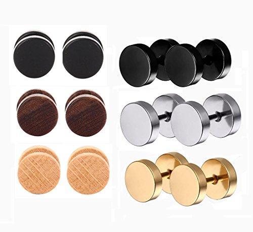 Tanyoyo Wood Cheater Fake Ear Plugs Gauges Illusion Screw Stud Earrings 3pair a set (3pair Wood+ 3pair Steel)