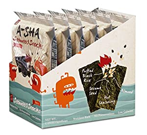 A-Sha Seaweed Snacks Spicy - Individual Size with Puffed Rice, Toasted Almonds, Roasted Sesame Seeds
