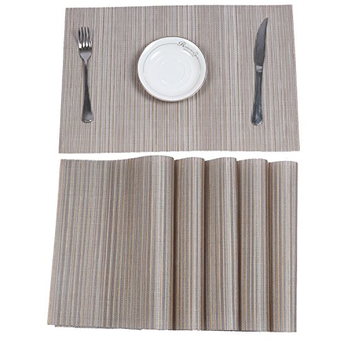 HEBE Placemats Set of 6 Heat Resistant Placemats for Dining Table Durable Crossweave Woven Vinyl ...