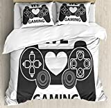 Lunarable Gamer Queen Size Duvet Cover Set, We Love Gaming Quote Greyscale Controller Design with Heart in the Middle, Decorative 3 Piece Bedding Set with 2 Pillow Shams, Charcoal Grey White