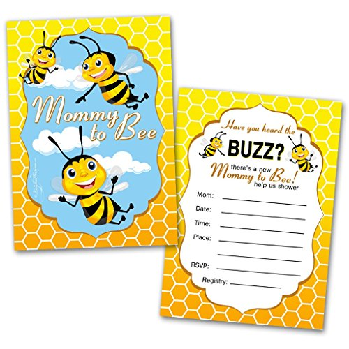 Baby Shower Invitation Cards | 20 Cards with Envelopes | Mommy to Bee | Flat Style | Colorful Design | Party Invitations | Unisex Baby Shower Invitations | Baby Shower (Flat Card Baby Shower Invitations)