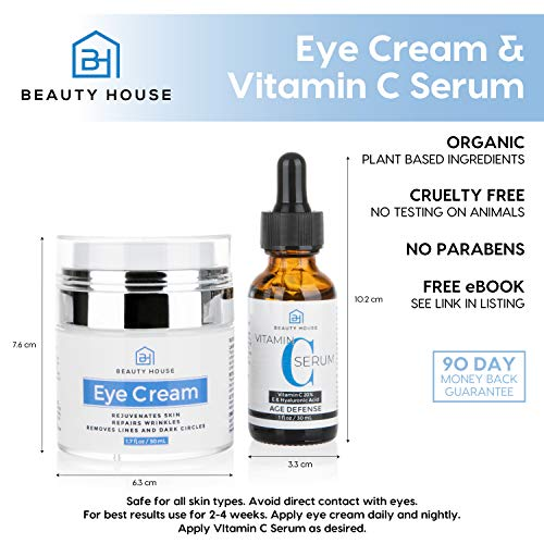 51tVeWJly4L - Beauty House Premium Anti Aging Treatment | Eye Cream (1.7 oz) for Dark Circles, Puffiness, Bags and Wrinkles | Vitamin C and Hyaluronic Acid Face Serum (1 oz) with Free eBook