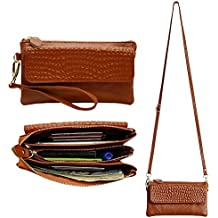 Befen Leather Wristlet Cross Body Clutch Smartphone Wallet for Women with Card slots & Shoulder/Wrist Strap - Brown